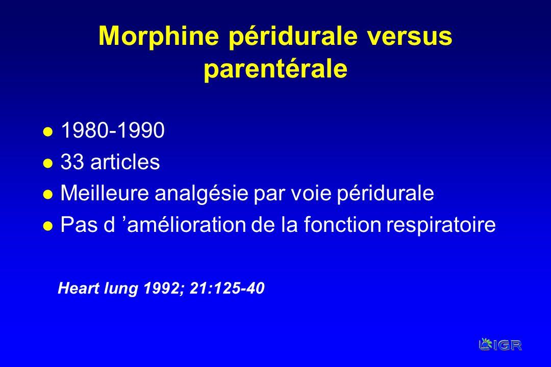Morphine péridurale versus parentérale l 1980-1990 l 33 articles l Meilleure analgésie par voie péridurale l Pas d amélioration de la fonction respira