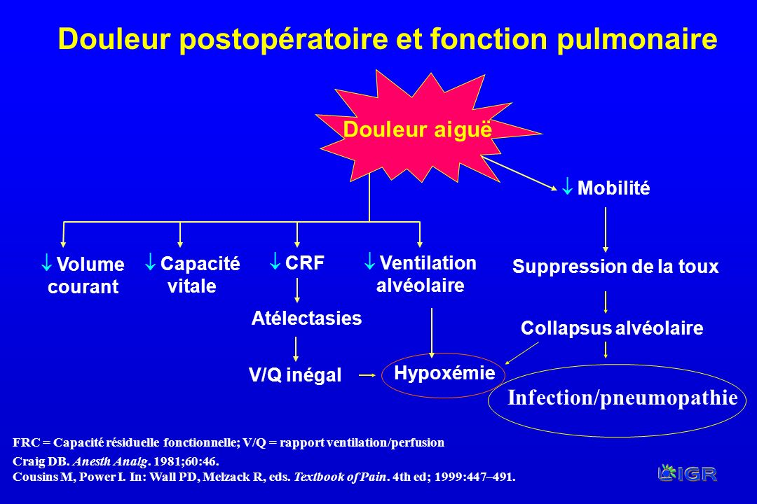FRC = Capacité résiduelle fonctionnelle; V/Q = rapport ventilation/perfusion Craig DB. Anesth Analg. 1981;60:46. Cousins M, Power I. In: Wall PD, Melz