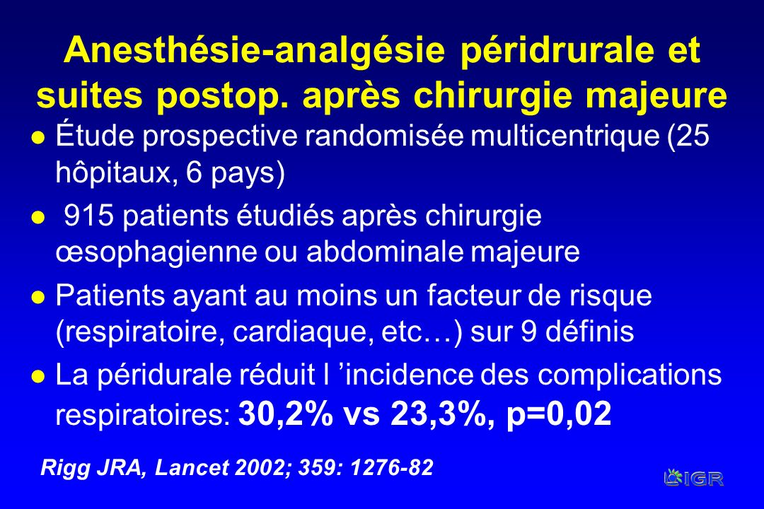 Anesthésie-analgésie péridrurale et suites postop. après chirurgie majeure l Étude prospective randomisée multicentrique (25 hôpitaux, 6 pays) l 915 p