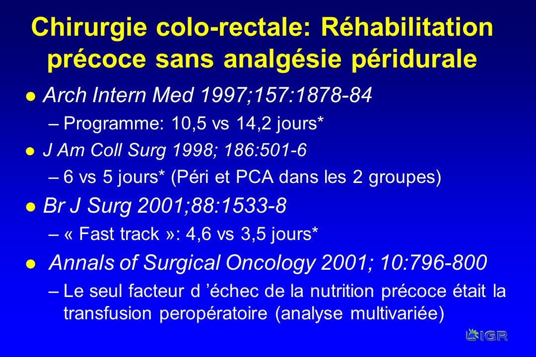 Chirurgie colo-rectale: Réhabilitation précoce sans analgésie péridurale l Arch Intern Med 1997;157:1878-84 –Programme: 10,5 vs 14,2 jours* l J Am Col