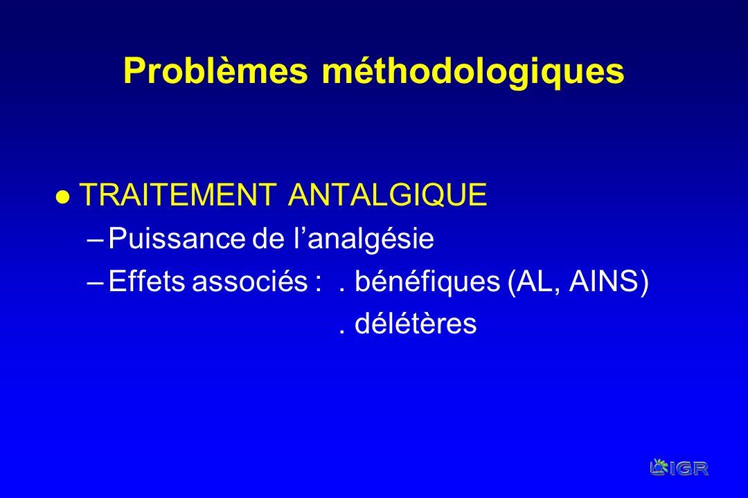 Problèmes méthodologiques l TRAITEMENT ANTALGIQUE –Puissance de lanalgésie –Effets associés :. bénéfiques (AL, AINS). délétères