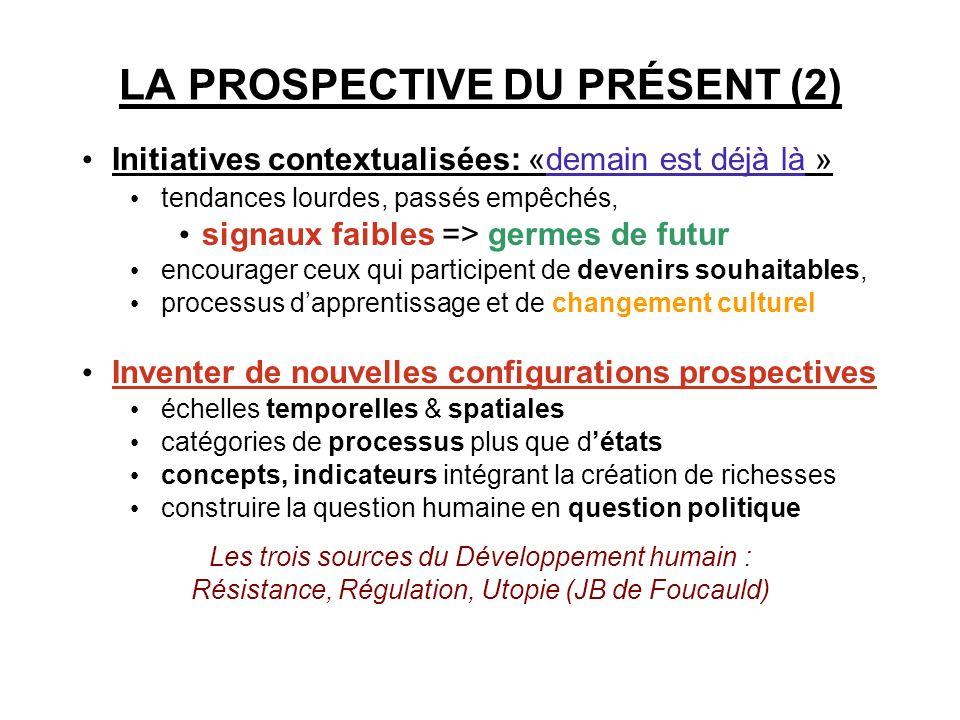 LA PROSPECTIVE DU PRÉSENT (2) Initiatives contextualisées: «demain est déjà là » tendances lourdes, passés empêchés, signaux faibles => germes de futu