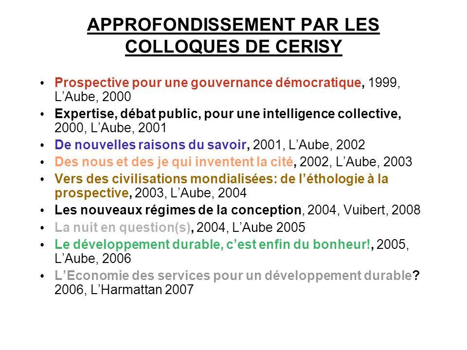 APPROFONDISSEMENT PAR LES COLLOQUES DE CERISY Prospective pour une gouvernance démocratique, 1999, LAube, 2000 Expertise, débat public, pour une intel