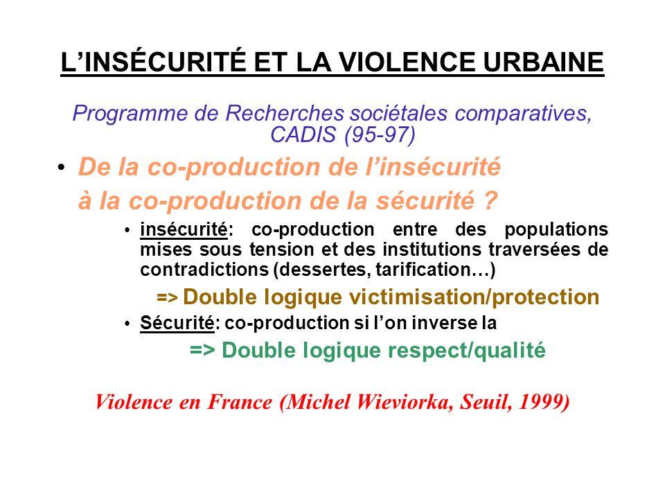 LINSÉCURITÉ ET LA VIOLENCE URBAINE Programme de Recherches sociétales comparatives, CADIS (95-97) De la co-production de linsécurité à la co-productio