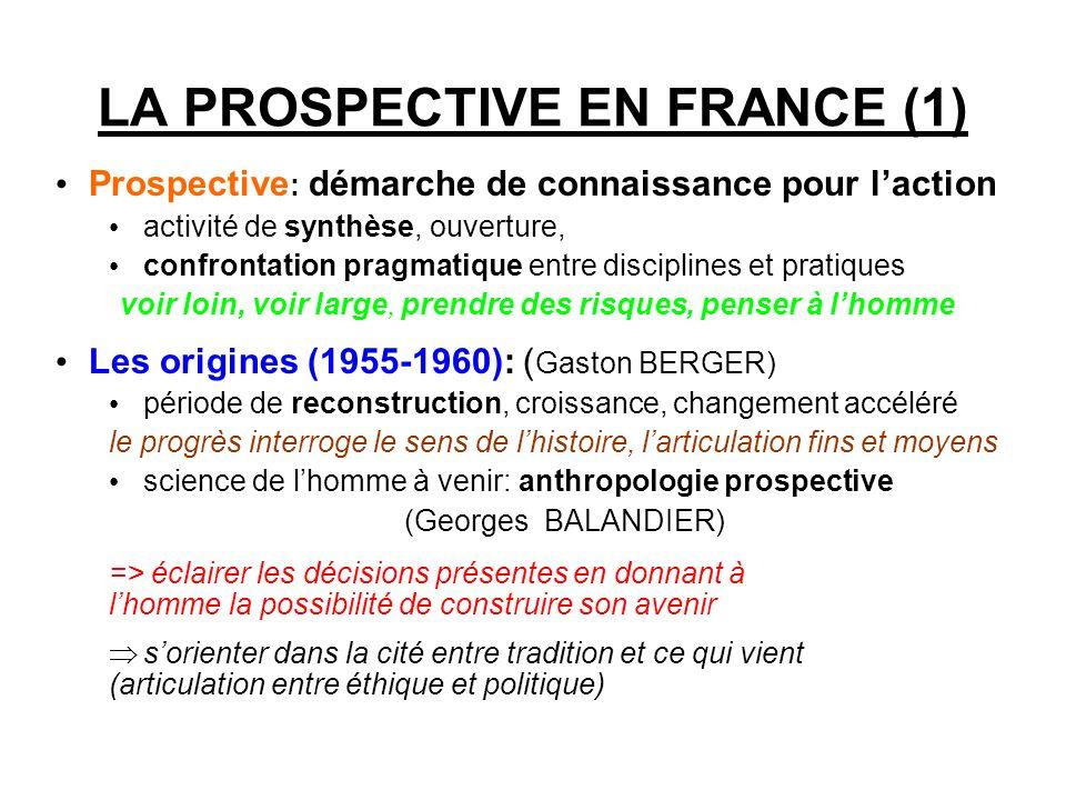 LA PROSPECTIVE EN FRANCE (1) Prospective : démarche de connaissance pour laction activité de synthèse, ouverture, confrontation pragmatique entre disc
