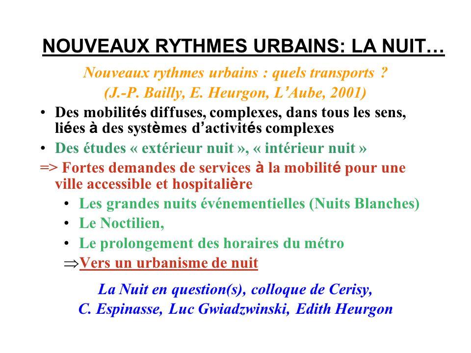 NOUVEAUX RYTHMES URBAINS: LA NUIT… Nouveaux rythmes urbains : quels transports ? (J.-P. Bailly, E. Heurgon, L Aube, 2001) Des mobilit é s diffuses, co