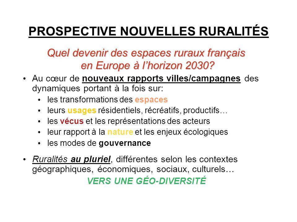 PROSPECTIVE NOUVELLES RURALITÉS Quel devenir des espaces ruraux français en Europe à lhorizon 2030? en Europe à lhorizon 2030? Au cœur de nouveaux rap