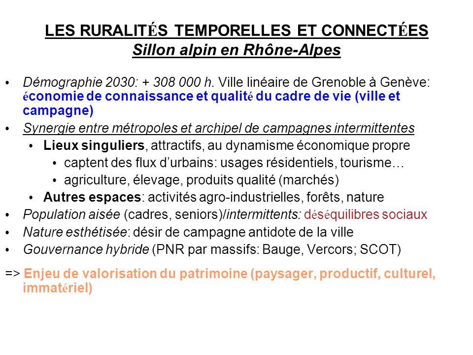 LES RURALIT É S TEMPORELLES ET CONNECT É ES Sillon alpin en Rhône-Alpes Démographie 2030: + 308 000 h. Ville linéaire de Grenoble à Genève: é conomie