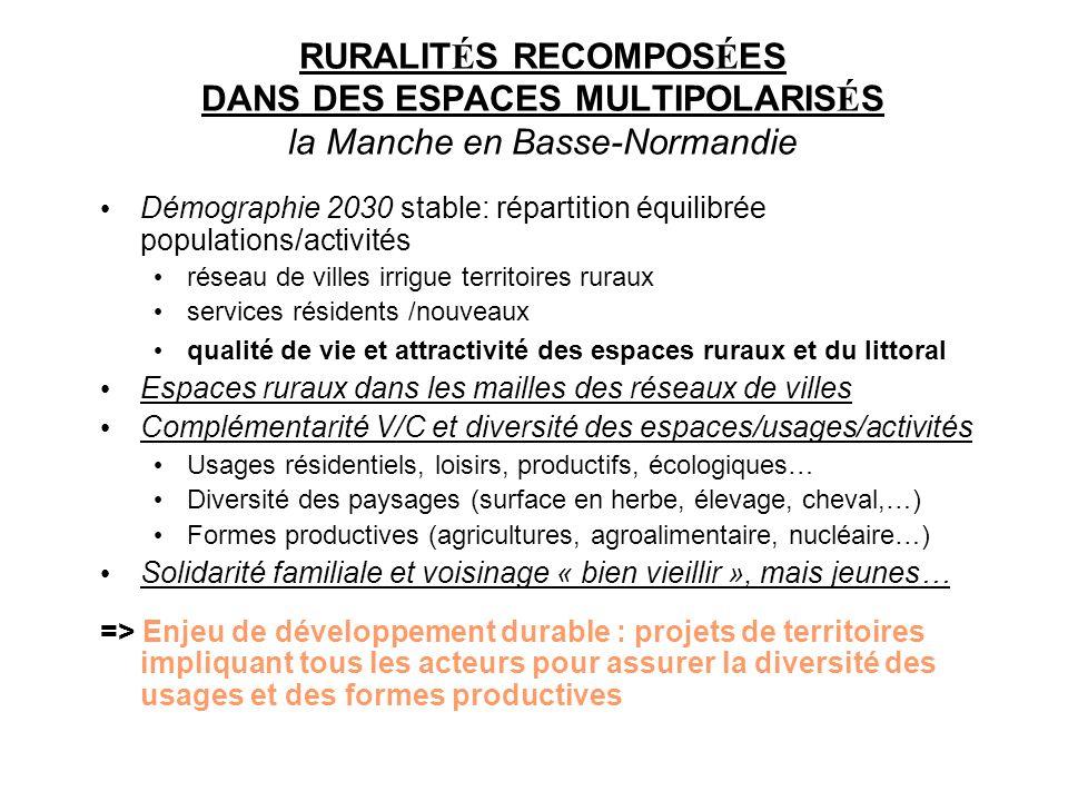 RURALIT É S RECOMPOS É ES DANS DES ESPACES MULTIPOLARIS É S la Manche en Basse-Normandie Démographie 2030 stable: répartition équilibrée populations/a