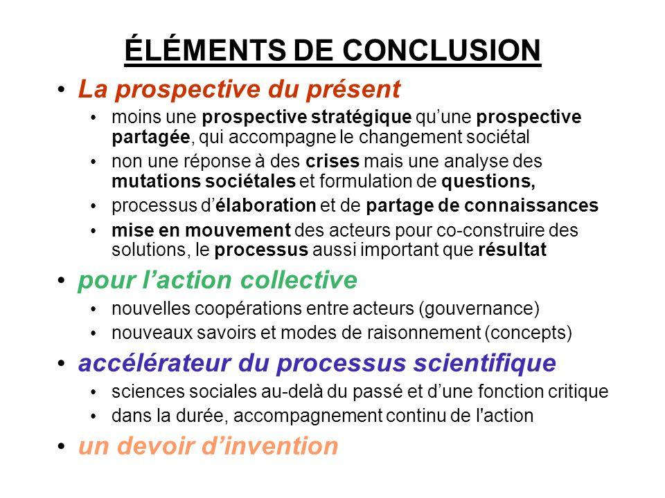 ÉLÉMENTS DE CONCLUSION La prospective du présent moins une prospective stratégique quune prospective partagée, qui accompagne le changement sociétal n