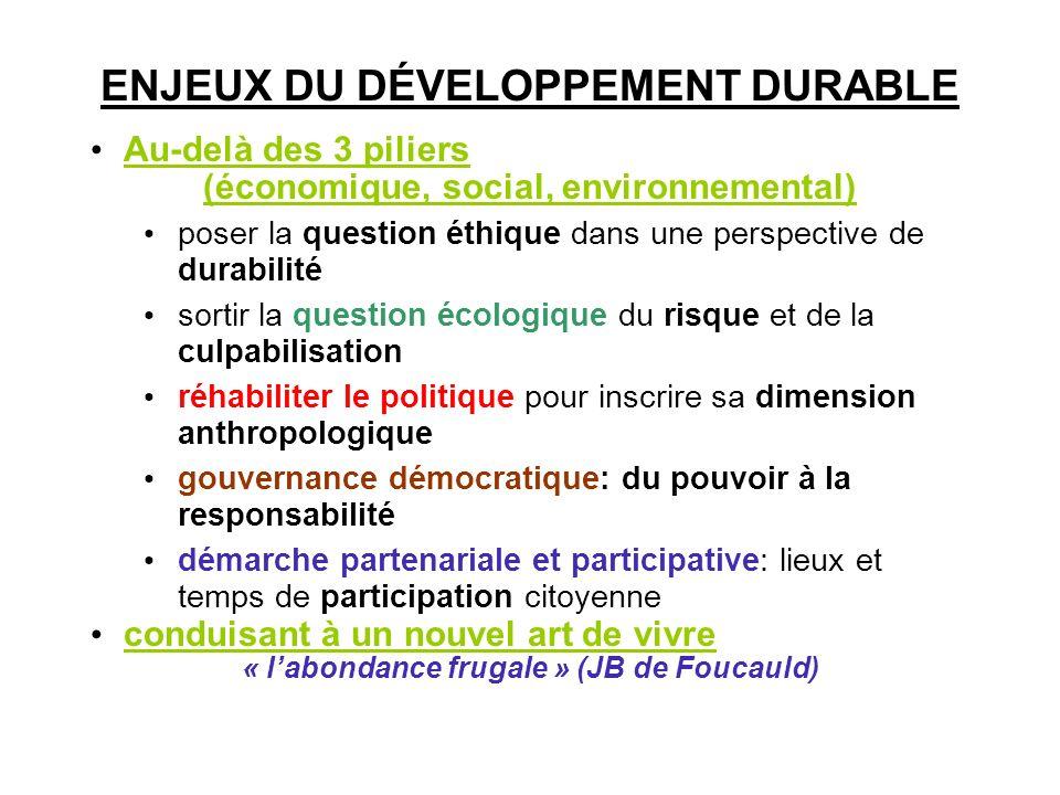 ENJEUX DU DÉVELOPPEMENT DURABLE Au-delà des 3 piliers (économique, social, environnemental) poser la question éthique dans une perspective de durabili