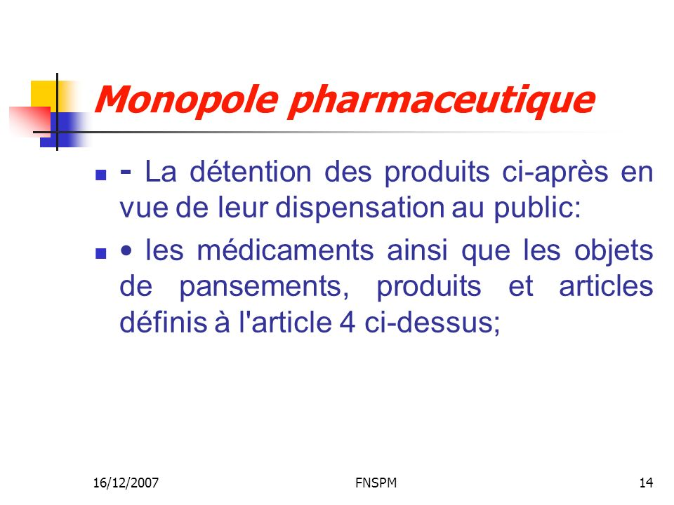 16/12/2007FNSPM14 Monopole pharmaceutique - La détention des produits ci-après en vue de leur dispensation au public: les médicaments ainsi que les ob