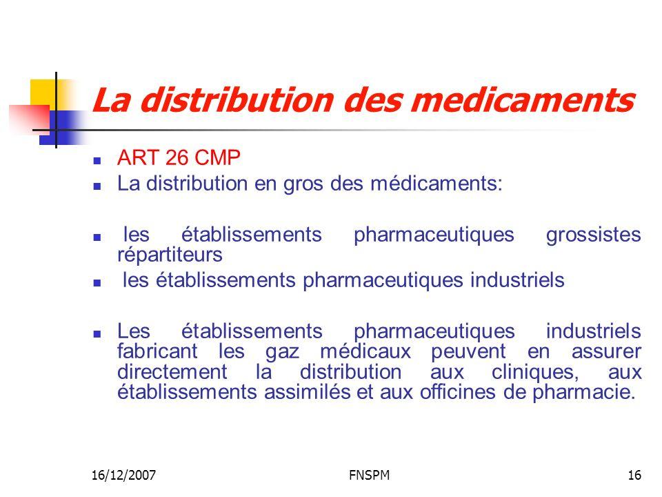16/12/2007FNSPM16 La distribution des medicaments ART 26 CMP La distribution en gros des médicaments: les établissements pharmaceutiques grossistes ré