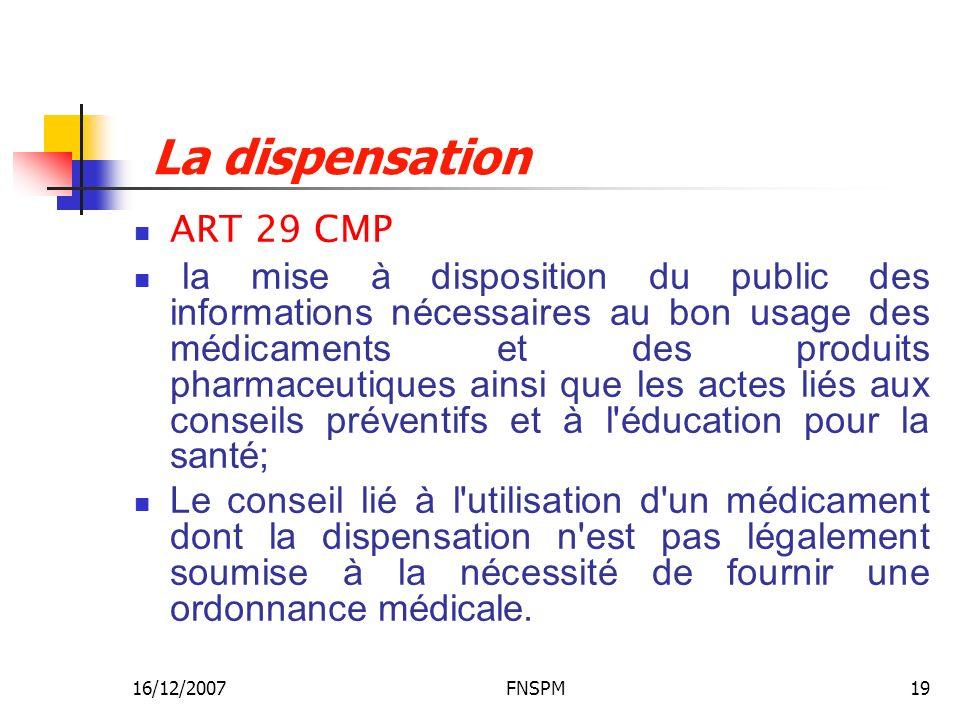 16/12/2007FNSPM19 La dispensation ART 29 CMP la mise à disposition du public des informations nécessaires au bon usage des médicaments et des produits