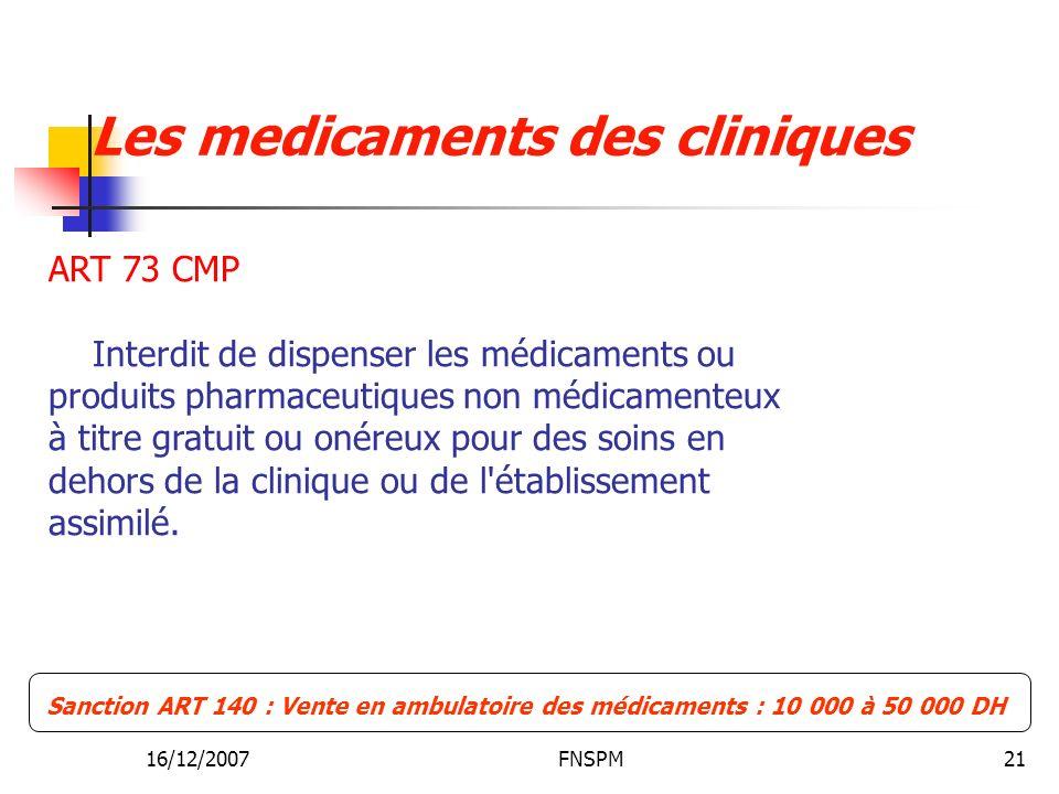 16/12/2007FNSPM21 Sanction ART 140 : Vente en ambulatoire des médicaments : 10 000 à 50 000 DH ART 73 CMP Interdit de dispenser les médicaments ou produits pharmaceutiques non médicamenteux à titre gratuit ou onéreux pour des soins en dehors de la clinique ou de l établissement assimilé.
