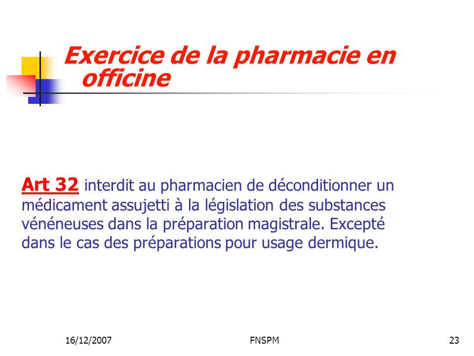 16/12/2007FNSPM23 Art 32 interdit au pharmacien de déconditionner un médicament assujetti à la législation des substances vénéneuses dans la préparati