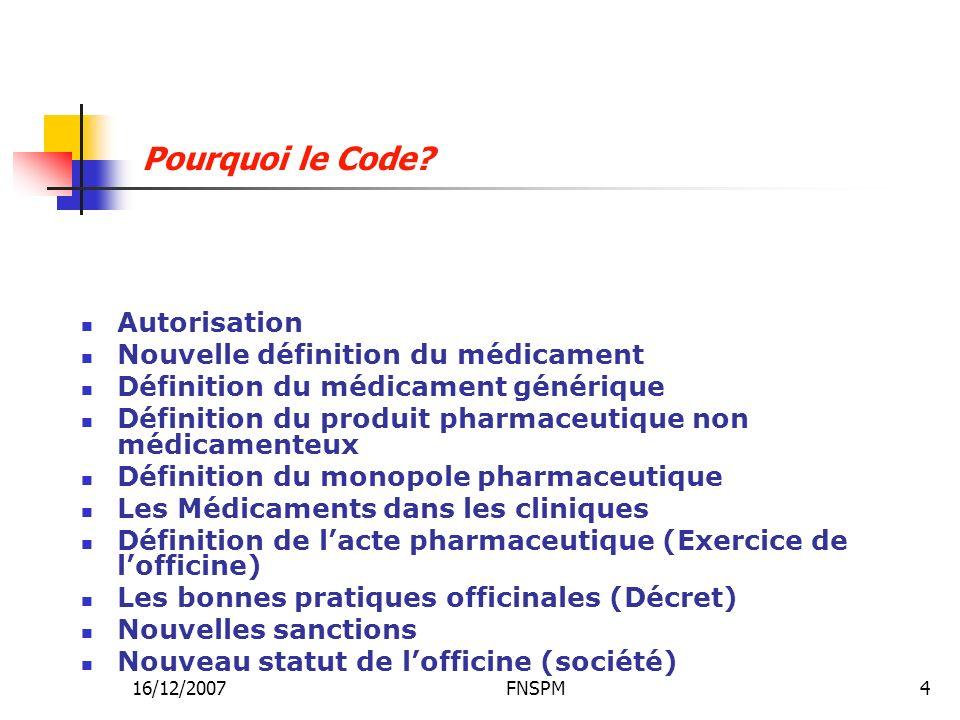 16/12/2007FNSPM4 Autorisation Nouvelle définition du médicament Définition du médicament générique Définition du produit pharmaceutique non médicament