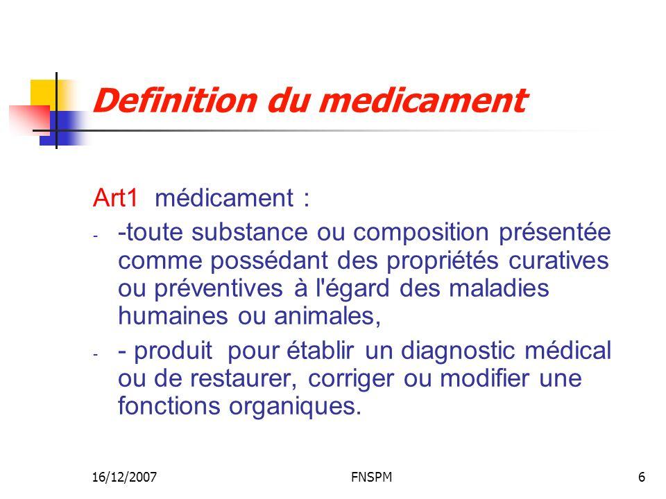 16/12/2007FNSPM6 Definition du medicament Art1 médicament : - -toute substance ou composition présentée comme possédant des propriétés curatives ou préventives à l égard des maladies humaines ou animales, - - produit pour établir un diagnostic médical ou de restaurer, corriger ou modifier une fonctions organiques.