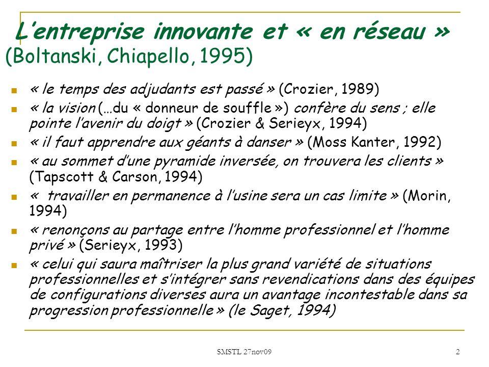 SMSTL 27nov09 2 Lentreprise innovante et « en réseau » (Boltanski, Chiapello, 1995) « le temps des adjudants est passé » (Crozier, 1989) « la vision (