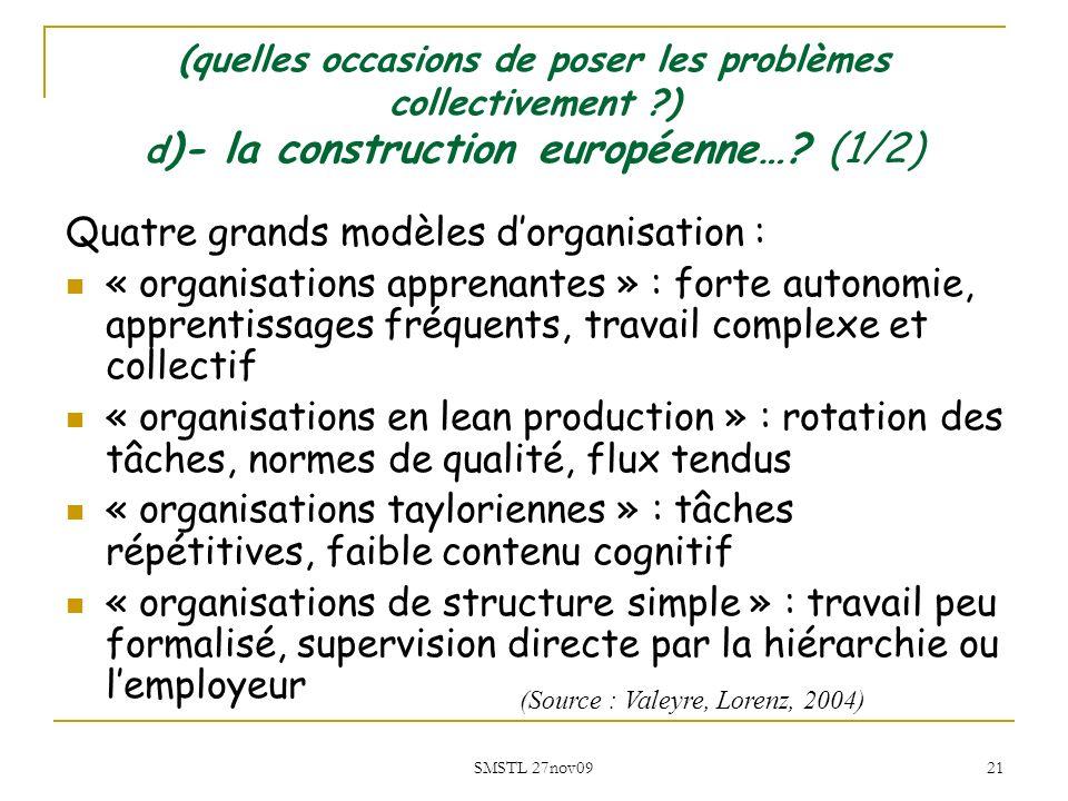 SMSTL 27nov09 21 Quatre grands modèles dorganisation : « organisations apprenantes » : forte autonomie, apprentissages fréquents, travail complexe et