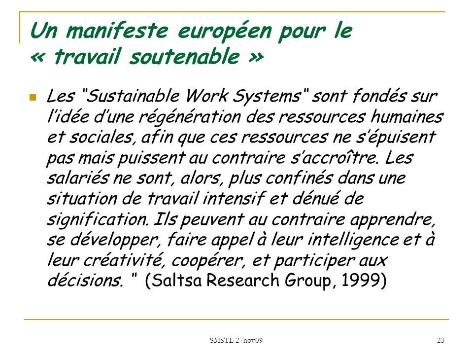 SMSTL 27nov09 23 Un manifeste européen pour le « travail soutenable » Les Sustainable Work Systems sont fondés sur lidée dune régénération des ressour