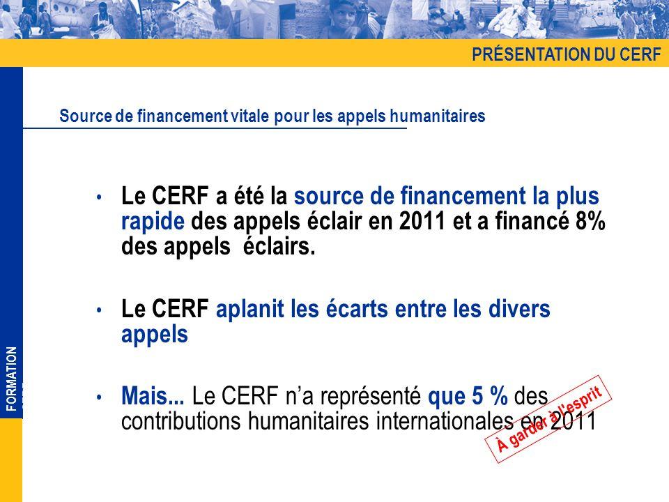 FORMATION CERF Le CERF a été la source de financement la plus rapide des appels éclair en 2011 et a financé 8% des appels éclairs. Le CERF aplanit les