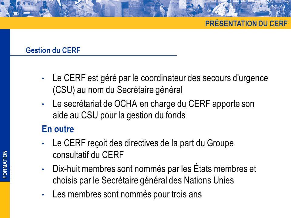 FORMATION CERF Le CERF est géré par le coordinateur des secours d urgence (CSU) au nom du Secrétaire général Le secrétariat de OCHA en charge du CERF apporte son aide au CSU pour la gestion du fonds En outre Le CERF reçoit des directives de la part du Groupe consultatif du CERF Dix-huit membres sont nommés par les États membres et choisis par le Secrétaire général des Nations Unies Les membres sont nommés pour trois ans Gestion du CERF PRÉSENTATION DU CERF