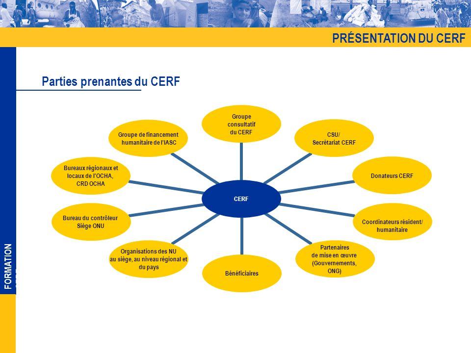 FORMATION CERF CERF Groupe consultatif du CERF CSU/ Secrétariat CERF Donateurs CERF Coordinateurs résident/ humanitaire Partenaires de mise en œuvre (Gouvernements, ONG) Bénéficiaires Organisations des NU au siège, au niveau régional et du pays Bureau du contrôleur Siège ONU Bureaux régionaux et locaux de l OCHA, CRD OCHA Groupe de financement humanitaire de l IASC Parties prenantes du CERF PRÉSENTATION DU CERF
