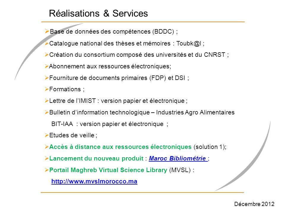 Réalisations & Services Base de données des compétences (BDDC) ; Catalogue national des thèses et mémoires : Toubk@l ; Création du consortium composé