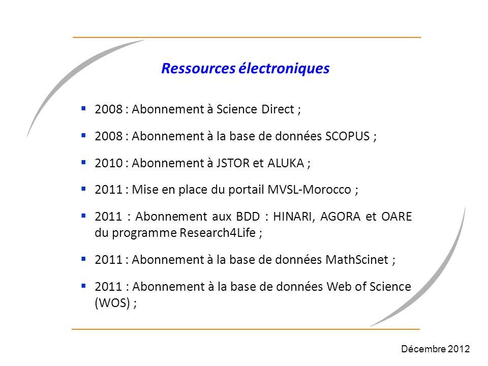 Ressources électroniques 2008 : Abonnement à Science Direct ; 2008 : Abonnement à la base de données SCOPUS ; 2010 : Abonnement à JSTOR et ALUKA ; 201