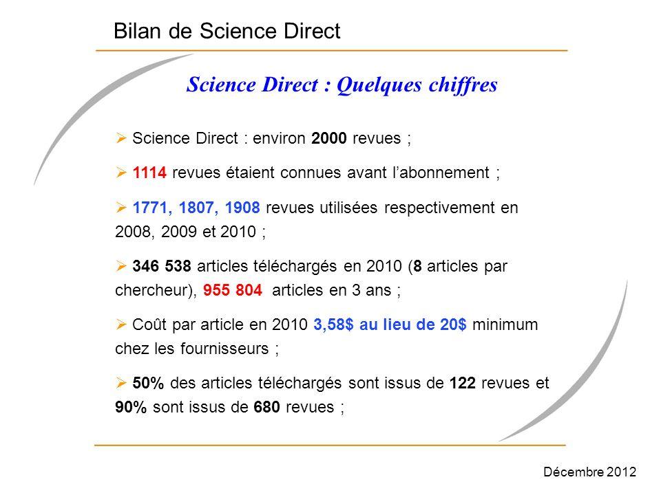 Science Direct : environ 2000 revues ; 1114 revues étaient connues avant labonnement ; 1771, 1807, 1908 revues utilisées respectivement en 2008, 2009