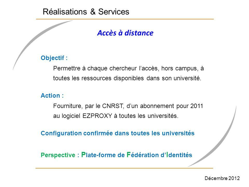 Accès à distance Objectif : Permettre à chaque chercheur laccès, hors campus, à toutes les ressources disponibles dans son université. Action : Fourni