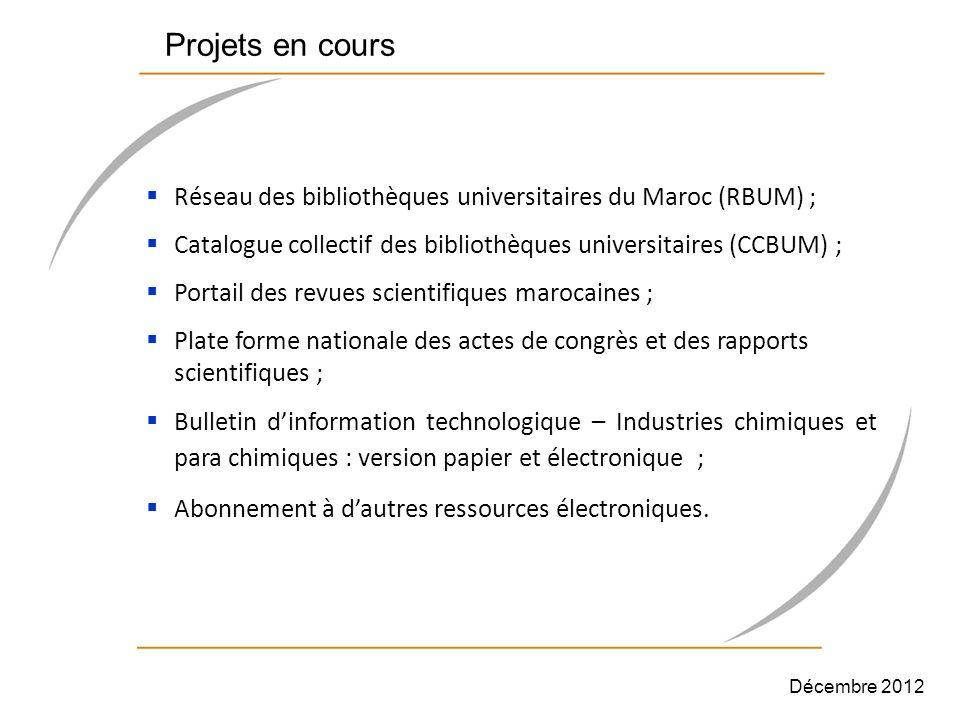 Projets en cours Réseau des bibliothèques universitaires du Maroc (RBUM) ; Catalogue collectif des bibliothèques universitaires (CCBUM) ; Portail des