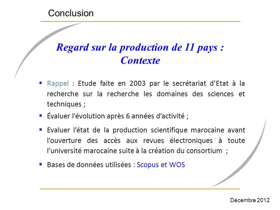 Regard sur la production de 11 pays : Contexte Rappel : Etude faite en 2003 par le secrétariat dEtat à la recherche sur la recherche les domaines des