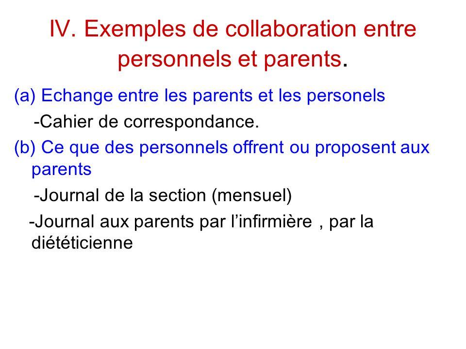 IV. Exemples de collaboration entre personnels et parents. (a) Echange entre les parents et les personels -Cahier de correspondance. (b) Ce que des pe