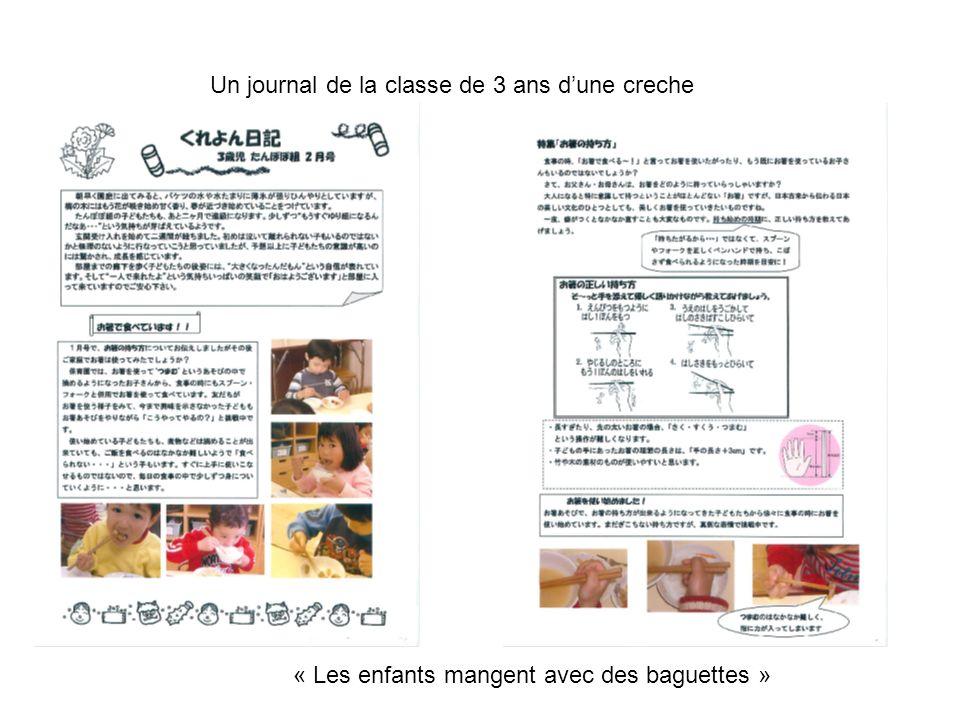 Un journal de la classe de 3 ans dune creche « Les enfants mangent avec des baguettes »