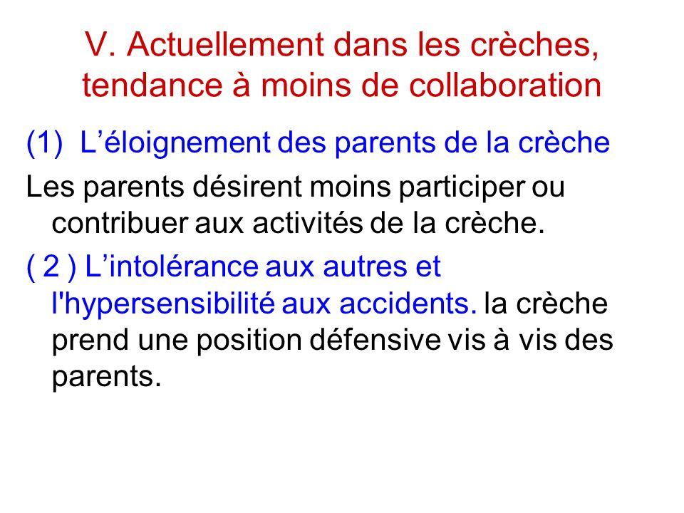 V. Actuellement dans les crèches, tendance à moins de collaboration (1) Léloignement des parents de la crèche Les parents désirent moins participer ou