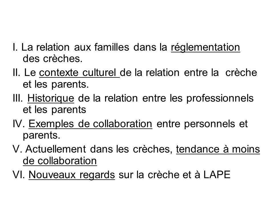 I. La relation aux familles dans la réglementation des crèches.