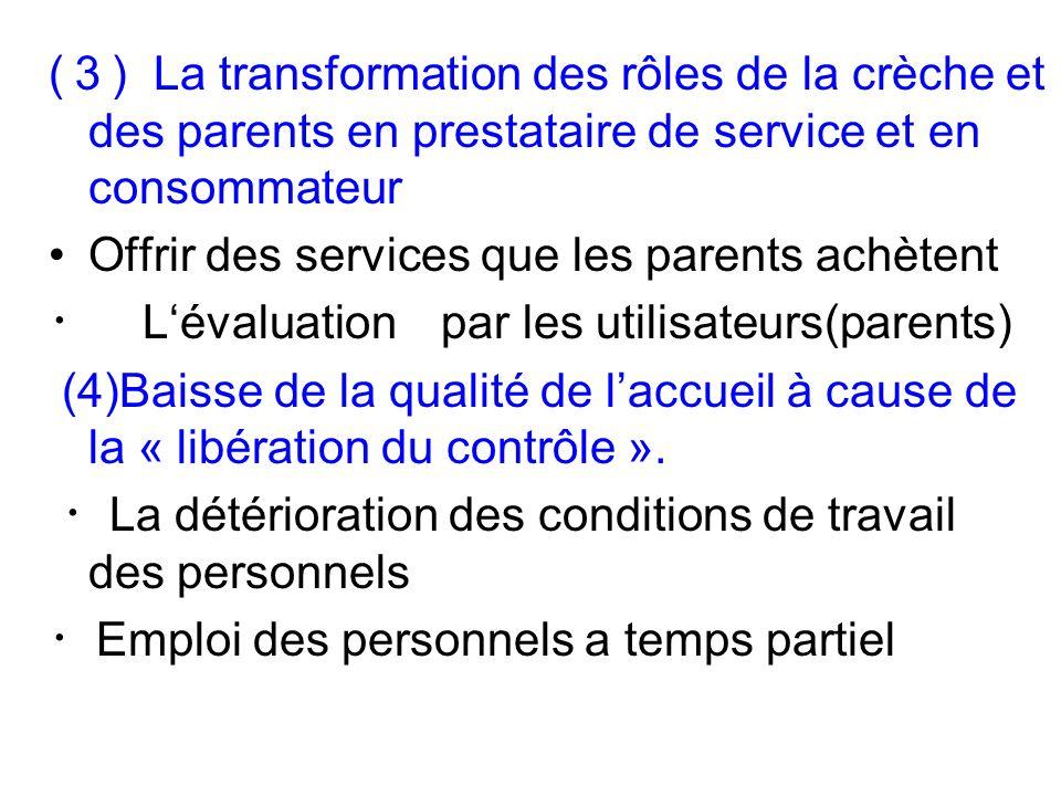 ( ) La transformation des rôles de la crèche et des parents en prestataire de service et en consommateur Offrir des services que les parents achètent Lévaluation par les utilisateurs(parents) (4)Baisse de la qualité de laccueil à cause de la « libération du contrôle ».