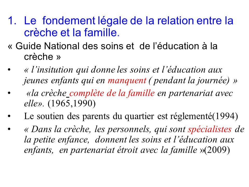1.Le fondement légale de la relation entre la crèche et la famille.