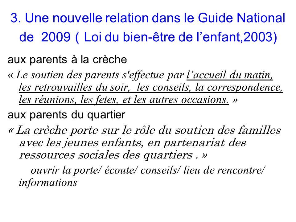 3. Une nouvelle relation dans le Guide National de 2009 Loi du bien-être de lenfant,2003) aux parents à la crèche « Le soutien des parents s'effectue