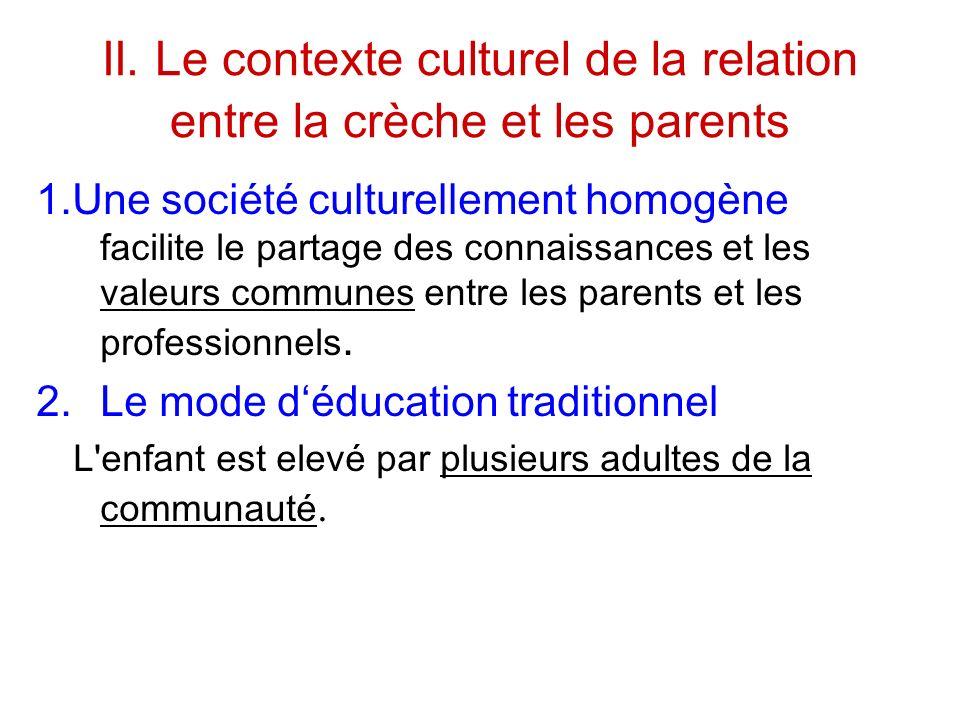 II. Le contexte culturel de la relation entre la crèche et les parents 1.Une société culturellement homogène facilite le partage des connaissances et