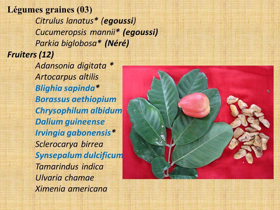 Légumes graines (03) Citrulus lanatus* (egoussi) Cucumeropsis mannii* (egoussi) Parkia biglobosa* (Néré) Fruiters (12) Adansonia digitata * Artocarpus