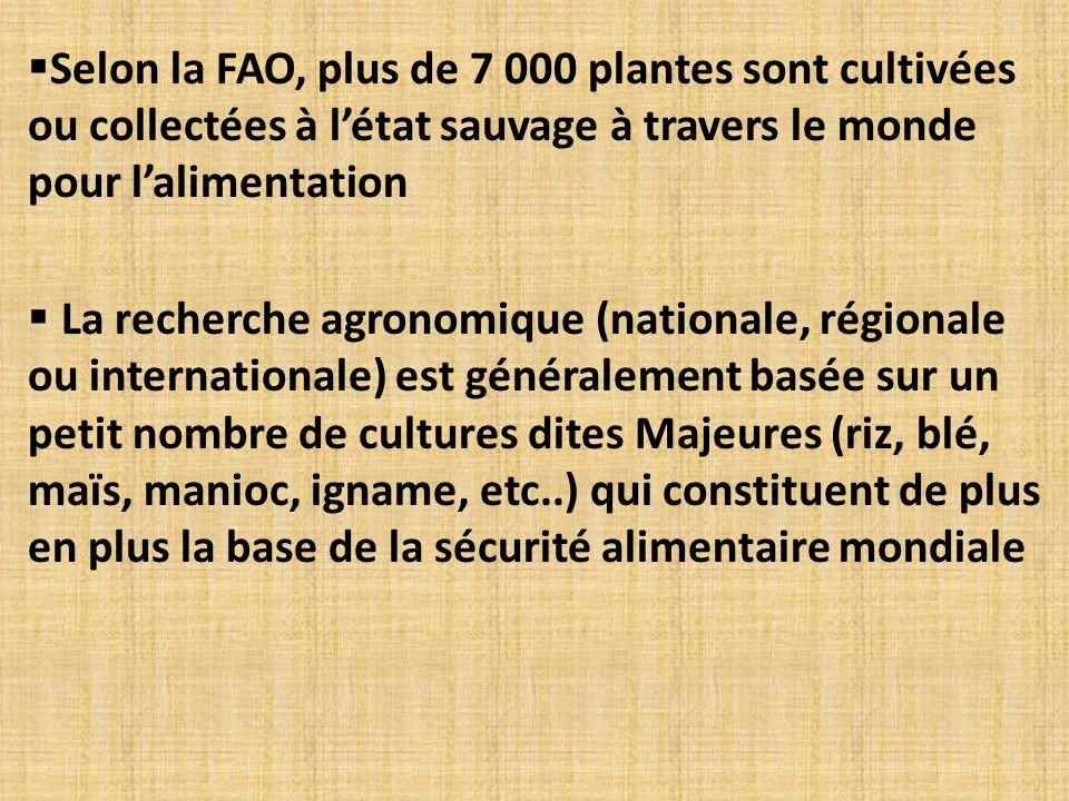 Selon la FAO, plus de 7 000 plantes sont cultivées ou collectées à létat sauvage à travers le monde pour lalimentation La recherche agronomique (natio
