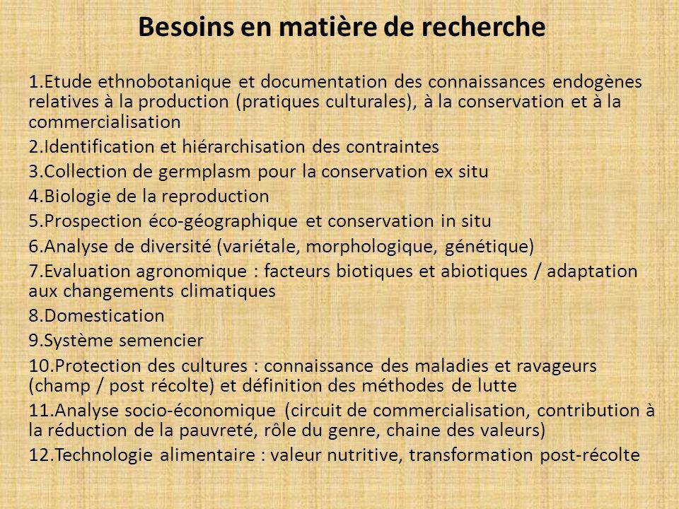 Besoins en matière de recherche 1.Etude ethnobotanique et documentation des connaissances endogènes relatives à la production (pratiques culturales),