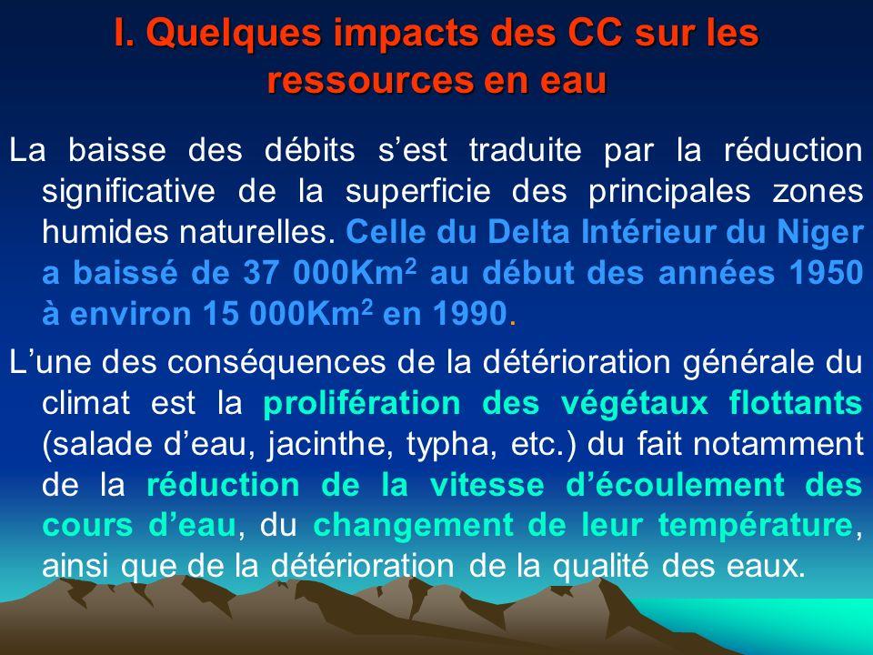 I. Quelques impacts des CC sur les ressources en eau La baisse des débits sest traduite par la réduction significative de la superficie des principale