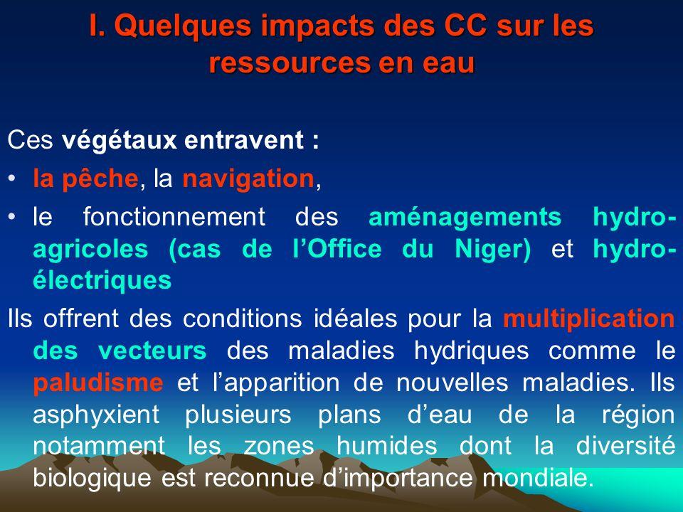 I. Quelques impacts des CC sur les ressources en eau Ces végétaux entravent : la pêche, la navigation, le fonctionnement des aménagements hydro- agric