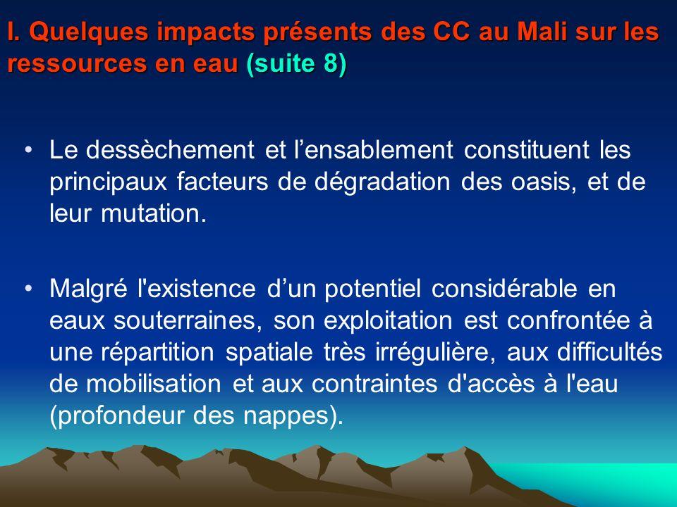 Le dessèchement et lensablement constituent les principaux facteurs de dégradation des oasis, et de leur mutation. Malgré l'existence dun potentiel co