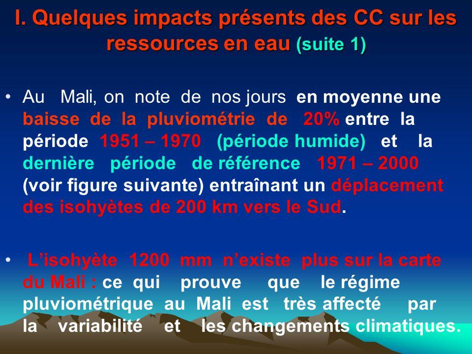 I. Quelques impacts présents des CC sur les ressources en eau (suite 1) Au Mali, on note de nos jours en moyenne une baisse de la pluviométrie de 20%