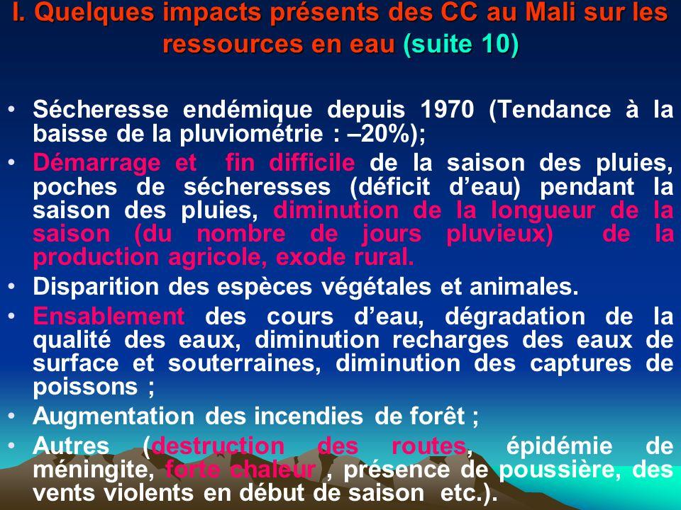 I. Quelques impacts présents des CC au Mali sur les ressources en eau (suite 10) Sécheresse endémique depuis 1970 (Tendance à la baisse de la pluviomé